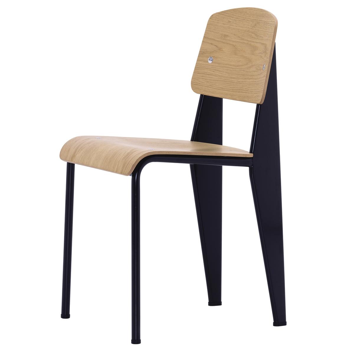 Vitra   Standard Stuhl, Eiche Natur / Tiefschwarz, Filzgleiter