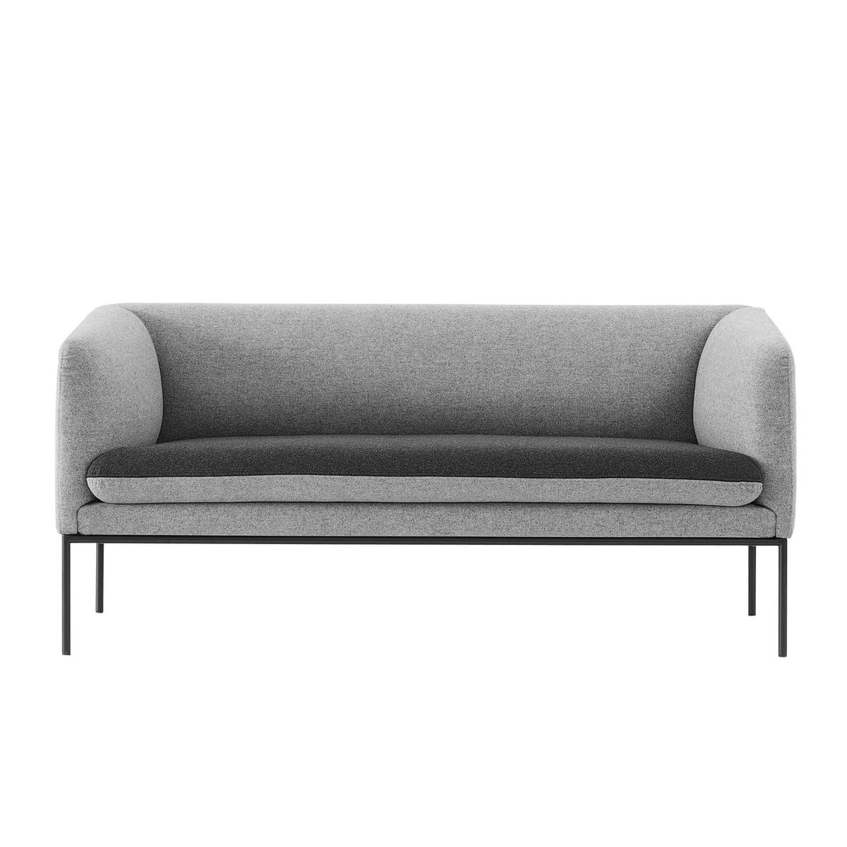 Fesselnd Turn Sofa (2 Sitzer) Von Ferm Living In Baumwolle Dunkelgrau / Hellgrau