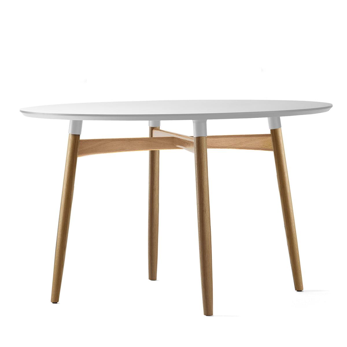 Esstisch rund weiß eiche  Carl Hansen - BA103 Preludia Esstisch Ø 120 cm, Laminat weiss / Eiche  lackiert