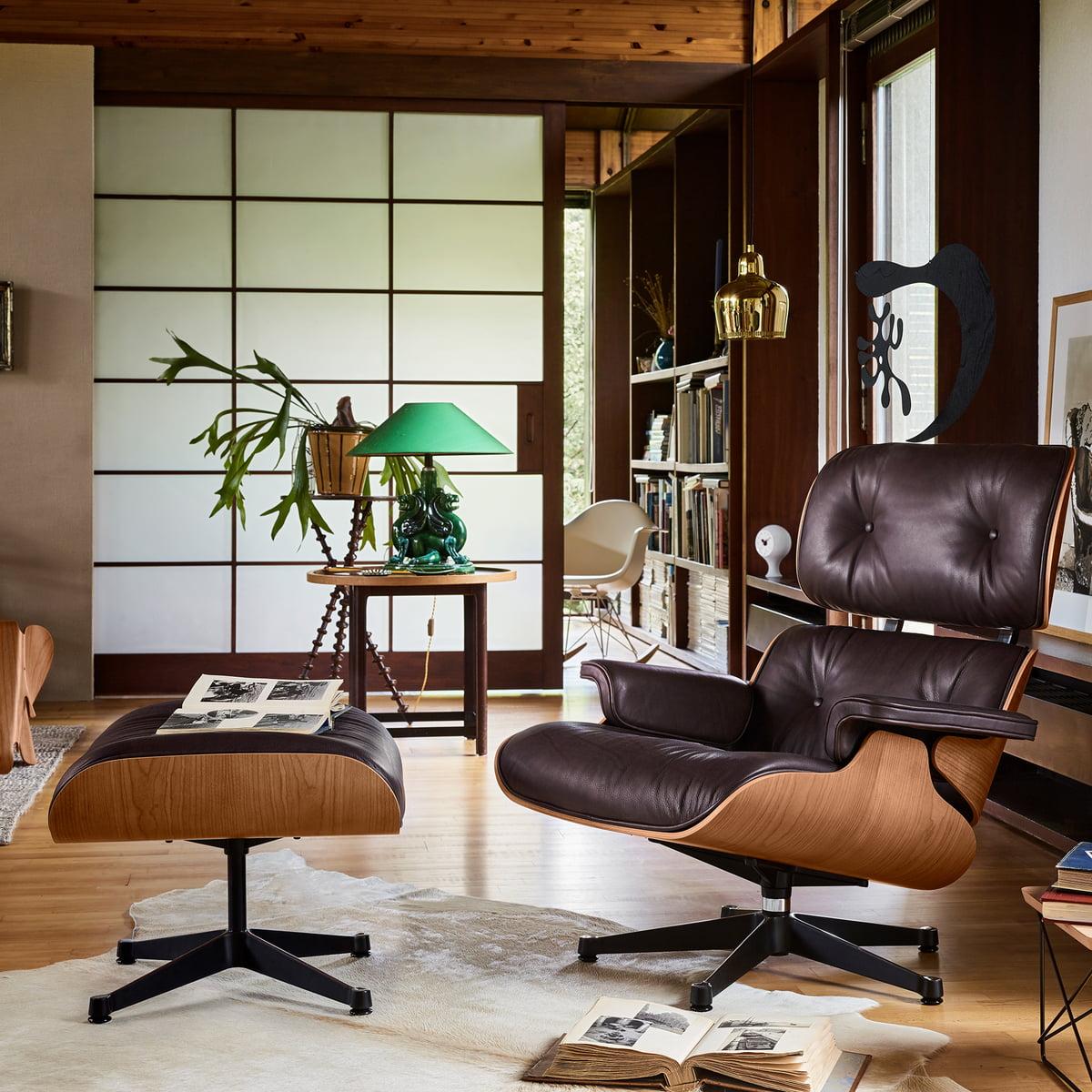 Vitra Lounge Chair Ottoman Poliert Seiten Schwarz Amerik Kirschbaum Chocolate Klassisch