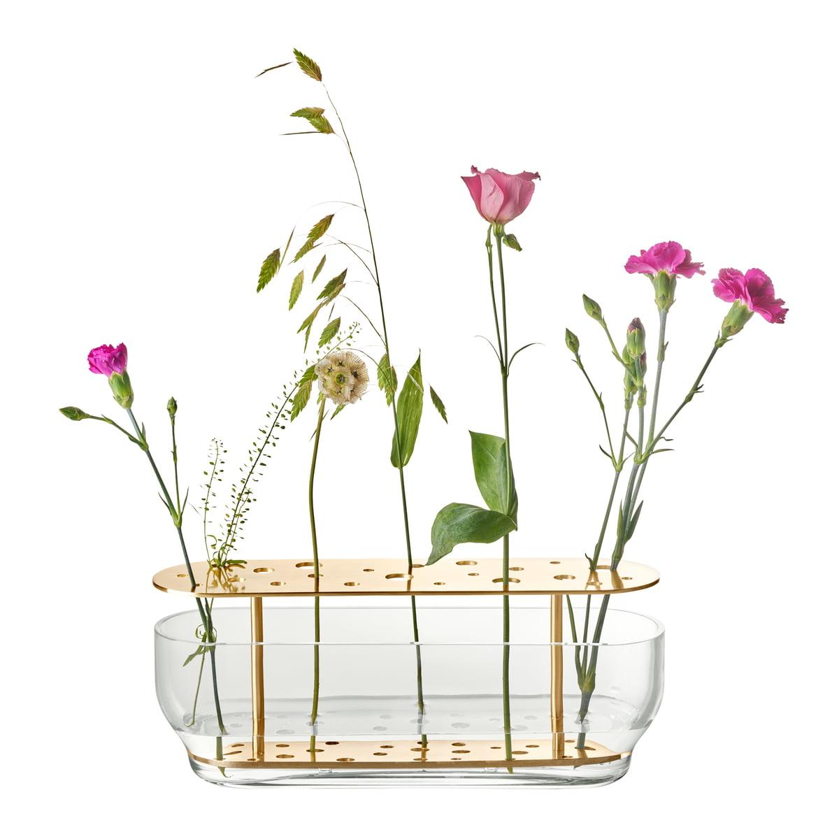 Fritz Hansen Ikebana Vase Lang Messing Glas Mit Blumen