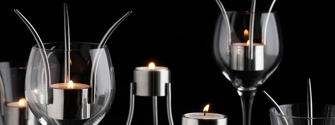 Von dem Hersteller Born in Sweden stammt der innovative Teelichthalter, der ebenso als Windlicht in einem Weinglas verwendet werden kann. Expressives Design trifft auf dezentes Licht.