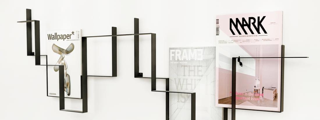 Frederik Roijé ist sowohl Designer, Hersteller als auch eine internationale Designagentur. Der Guidelines Zeitschriftenhalter präsentiert Zeitschriften und Zeitungen auf eindrucksvolle Weise.