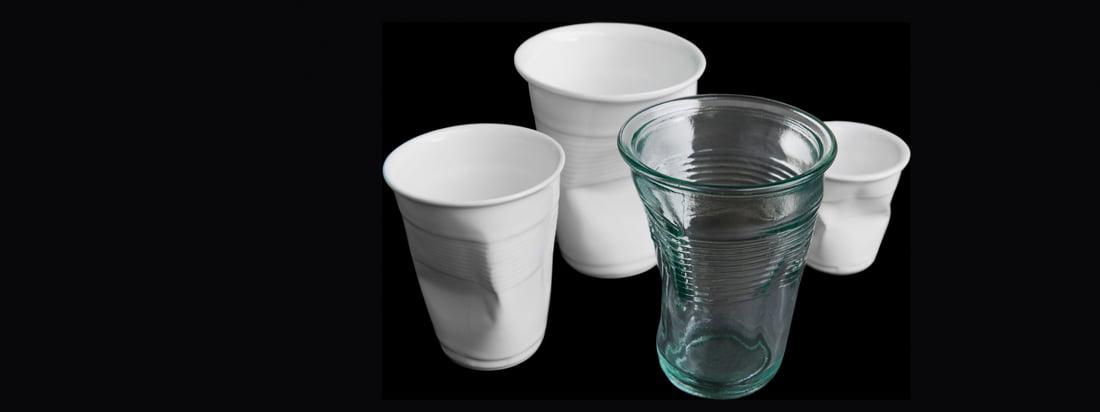 Details ist ein deutsches Design-Unternehmen. Das Knickglas und der Knickbecher verblüffen mit ihrer aussergewöhnlichen Optik, inspiriert von zerdrückten Trinkbechern.