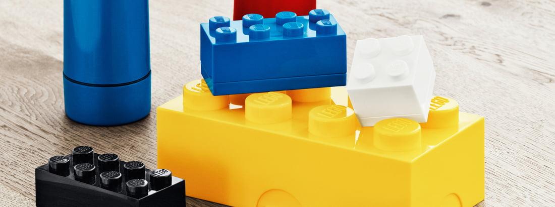 Das Lunch System von Lego besteht aus farbenfrohen Brotdosen, Mini-Boxen und Trinkflaschen in Legostein-Optik.