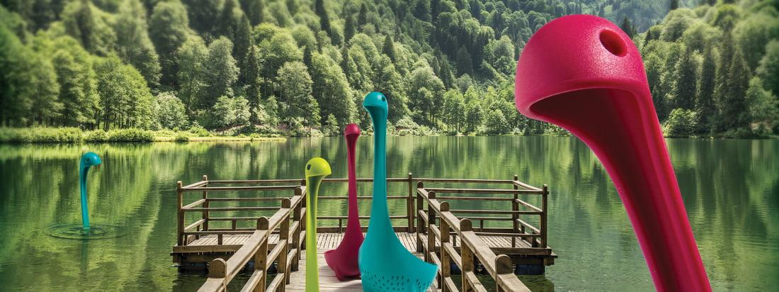 Mamma Nessie Gemüsesieb und Nessie Suppenkelle von Ototo in vielen verschiedenen bunten Farben