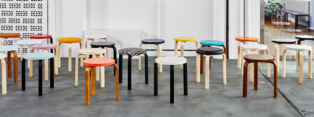 Der Stool 60 von Artek ist ein absoluter Klassiker unter den Sitzmöbeln, der aufgrund seiner ikonischen Form auch bereits mehrfach kopiert wurde.