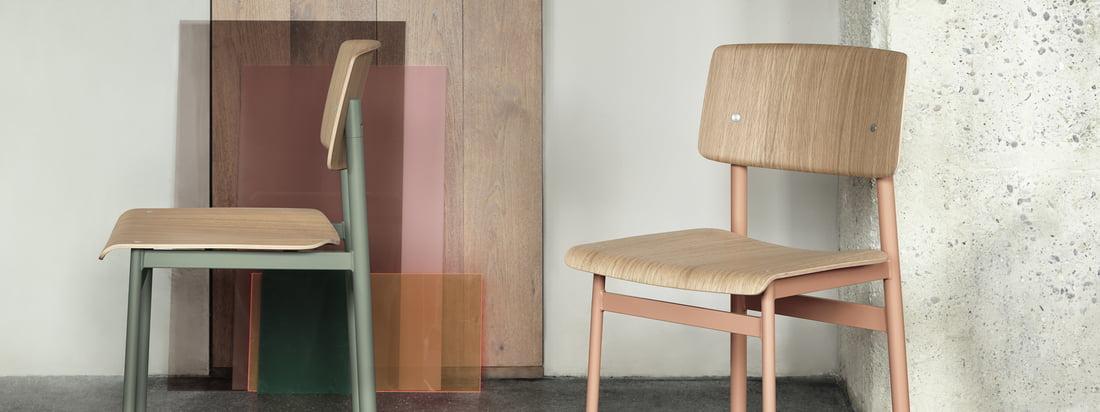 Loft Chair von Muuto in Dusty Rose und Dusty Green: Ob als Stuhl am Esstisch oder Sitzgelegenheit im Flur, der Loft Chair von Muuto ist funktional und dekorativ zugleich.