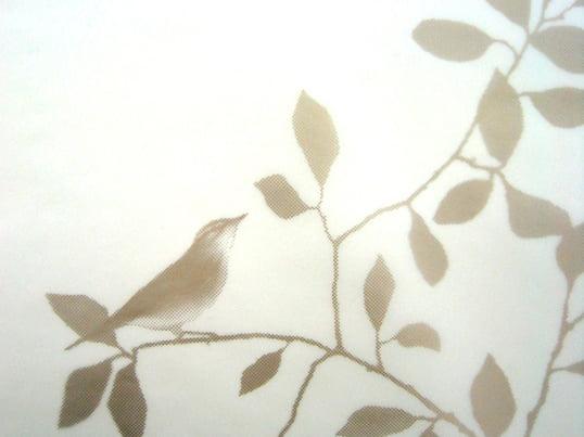 Birds in tree ist eine Sichtschutzfolie von LADP. Auf der Folie befindet sich ein Design mit Blättern und Vögeln, das vor neugierigen Blicken schützt.