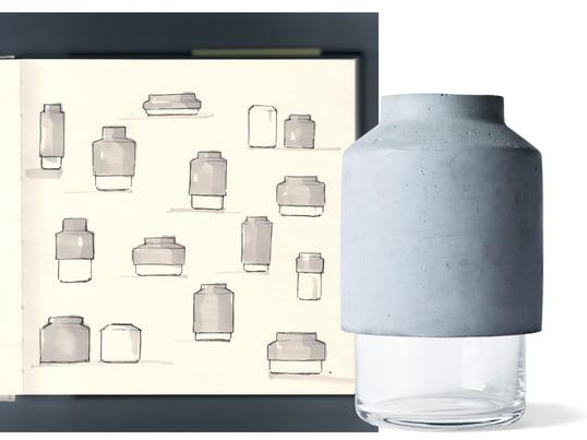 Der Kontrast aus rauem Beton und klarem Glas macht auch optisch klar, dass es sich bei der Willmann Vase von Menu um eine ganz besondere Materialkombination handelt.