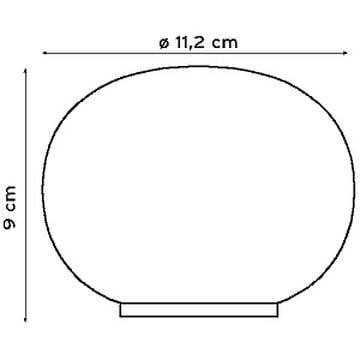 Masse der Mini Glo-Ball Tischleuchte von Flos
