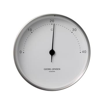 Henning Koppel Thermometer Ø 10 cm von Georg Jensen aus Edelstahl in Weiss