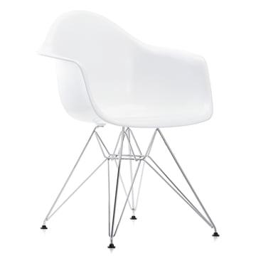 Vitra - Eames Plastic Armchair DAR, verchromt / weiss, Filzgleiter schwarz