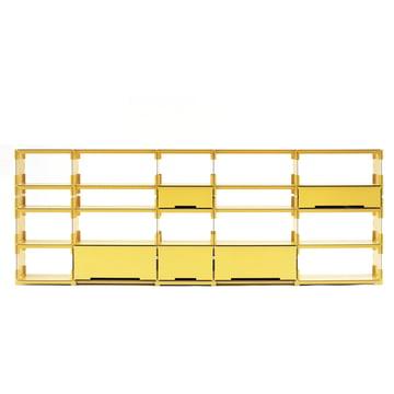 Regalsystem Plattenbau von Kaether & Weise in Gelb
