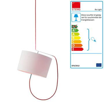 Steng Licht - Re-Light Pendelleuchte, Schirm weiss, Kabel rot