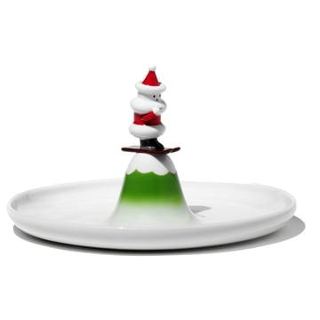 A di Alessi - Gebäckplatte Weihnachtsmann auf Ski