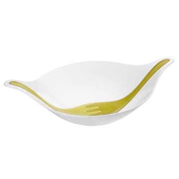 Leaf Salatschüssel mit Besteck 4.5 L von Koziol in Weiss / Oliv / Senfgrün