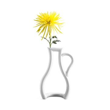 Weisse  Konturen-Vase mit gelber Blume