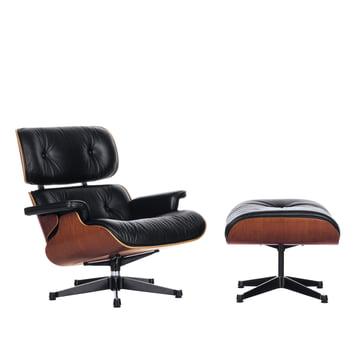 Vitra - Lounge Chair & Ottoman, poliert/schwarz, Kirschbaum