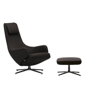 Vitra - Repos Sessel und Ottoman, Cosy black forest/ poliert