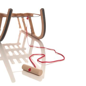 Sirch - Ziehseil rot mit Holzknauf