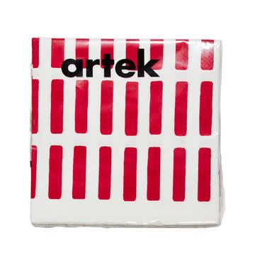 Artek - Siena Papierserviette, gross, rot/ weiss