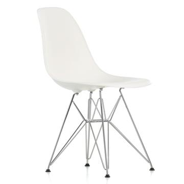 Vitra - Eames Plastic Side Chair DSR, verchromt / weiss, Filzgleiter schwarz