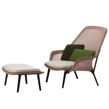 Vitra - Slow Chair & Ottoman, aubergine, rot / creme