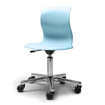 Flötotto, Pro 4 und 5 Drehstuhl Chrom, Sitzschale Aquablau