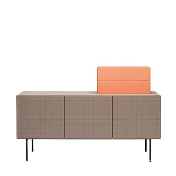 Casamania - Toshi Sideboard, Cabinet 3, Füsse, warmgrau - Aufsatz