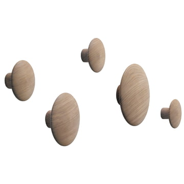"Muuto - Wandhaken ""The Dots"" 5er Set, Eiche"