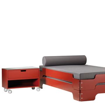 Nachttisch Modular und Stappelliege in Rot