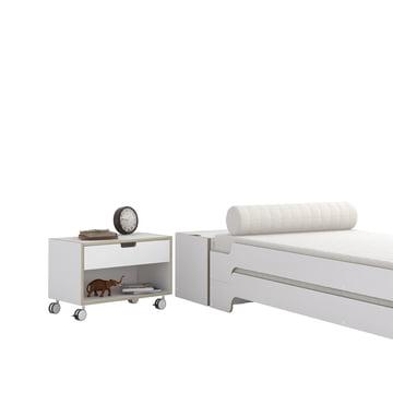 Nachttisch Modular und Stapelliege in Weiss mit Multiplex