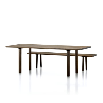 Vitra - Wood Table / Bench, Eiche kerngeräuchert massiv, 2200 mm