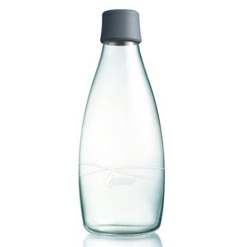 Trinkflasche mit Deckel 0,8 L von Retap in Grau