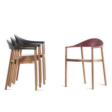 Plank - Monza Stuhl, schwarz, weinrot