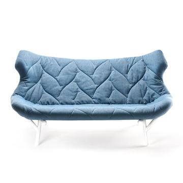 Kartell - Foliage Sofa, blaues Trevia, weisse Beine