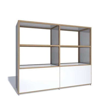 Flötotto - ADD Highboard, 2 Grossraumschubladen, Melamin weiss