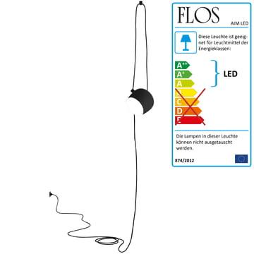Flos - AIM Pendelleuchte, cable+plug, schwarz