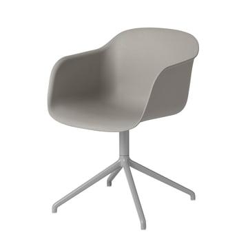 Fiber Chair - Swivel Base von Muuto in Grau / Grau