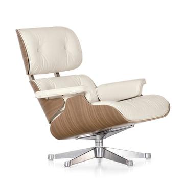 Vitra - Lounge Chair, weiss / poliert, Nussbaum (klassisch)