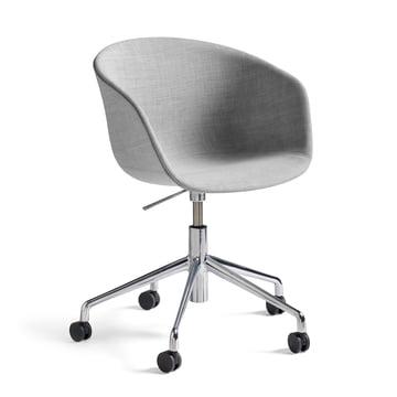 Hay - About A Chair AAC 53 mit Gasdruck-Höhenverstellung, Remix hellgrau (123) / poliert