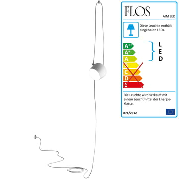 Flos - AIM Small LED-Pendelleuchte Cable + Plug, weiss