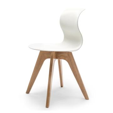 Flötotto - Pro 6 Stuhl Viersternholzuntergestell , Eiche natur / schneeweiss, Filzgleiter