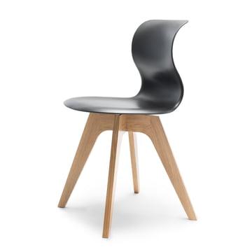 Flötotto - Pro 6 Stuhl Viersternholzuntergestell , Eiche natur / graphitschwarz, Filzgleiter