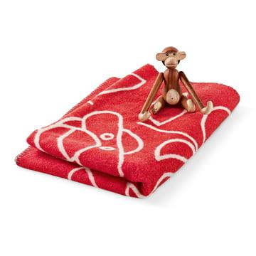 Kay Bojesen - Kinderdecke in rot mit Holz-Affen