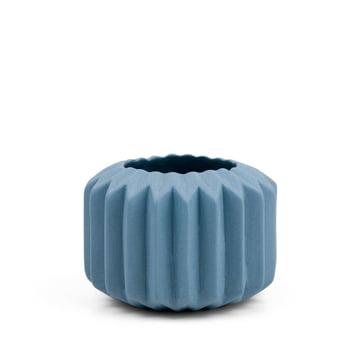 Riffle 1 Keramikteelichthalter / -vase von Novoform in blau
