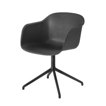 Fiber Chair - Swivel Base von Muuto in Schwarz / Schwarz