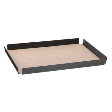 LindDNA - Tray Square aluminium Double Cloud/Nupo L 36 x 46 cm, anthrazit / sand