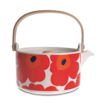 Die Oiva Unikko Teekanne von Marimekko in weiss / rot
